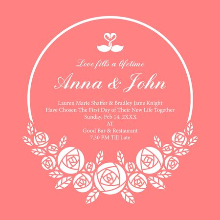 Wedding card with white circle Wreath rose flower on pink Ilustrace