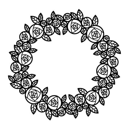 Circle abstract Line Wreath rose flower
