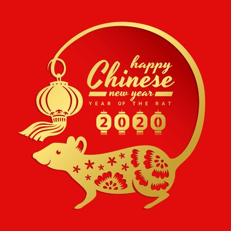 china new year 2020 banner card with gold rat chinese zodiac are tail around circle frame and hold china lantern on red Ilustrace