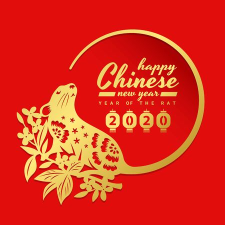 china new year 2020 with gold rat chinese zodiac on Flower branch are tail around circle frame on red background