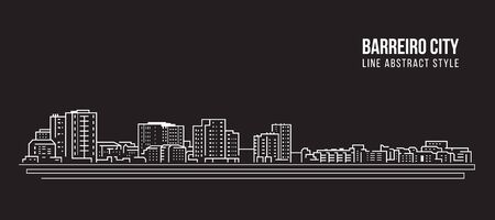 Cityscape Building Line art Vector Illustration design - Berreiro city Ilustrace