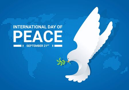 international day of peace banner with white dove with leaf on blue world map background vector design