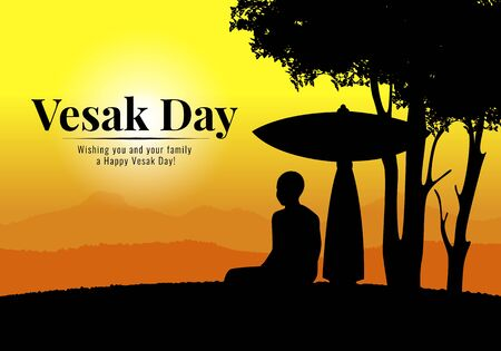 Vesak day banner with Buddhist monk meditate sitting under umbrella and tree in evening time vector design