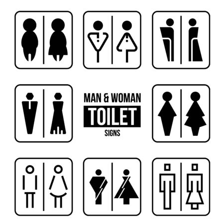 Man and Woman Toilet sign vector collection set design Ilustrace