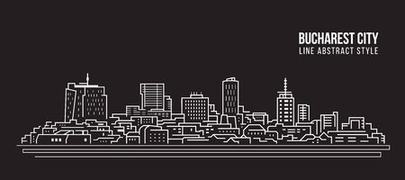 Cityscape Building Line art Vector Illustration design - Bucharest city