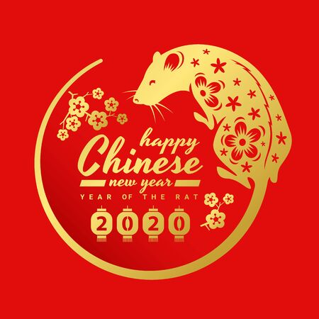 china new year 2020 banner card with gold rat chinese zodiac are tail around circle frame and flower on red background vector design