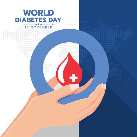 world diabetes day banner with hand hold red blood drop water in blue circle ring sign on map earth world texture background vector design Illustration