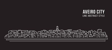 Cityscape Building Line art Vector Illustration design - Aveiro city