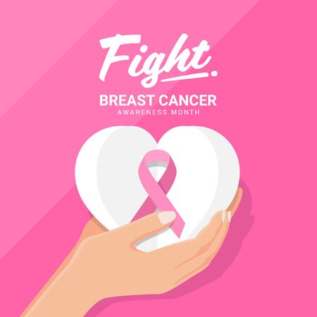 Fight breast cancer awareness month banner with hand hold pink ribbon on white paper heart on pink background vector design Ilustrace
