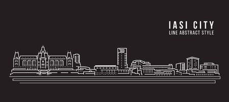 Cityscape Building Line art Vector Illustration design - iasi city Stock Illustratie