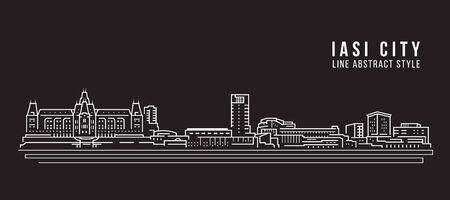 Cityscape Building Line art Vector Illustration design - iasi city Illustration