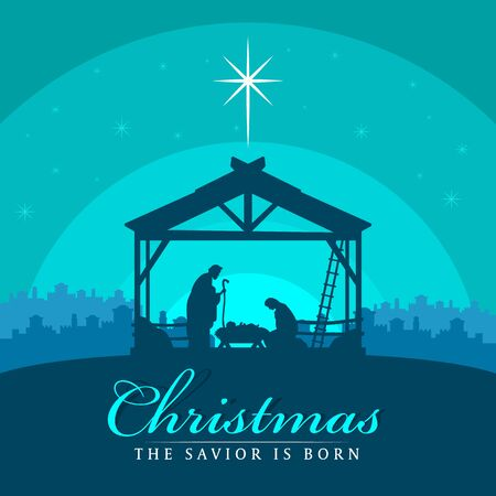 Christmas the savior is born banner sign with Nightly christmas scenery mary and joseph in a manger with baby Jesus Ilustrace
