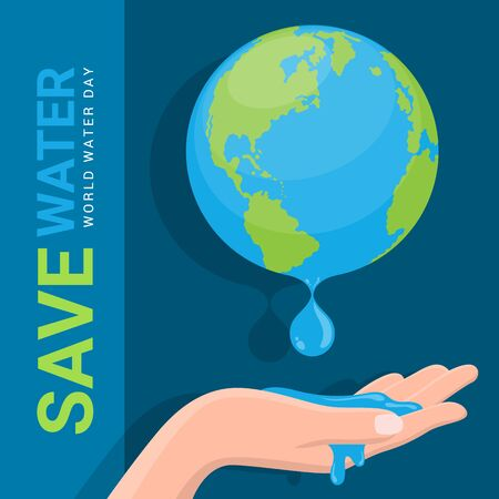 Save water - world water day banner with hand hold drop of water from earth sign