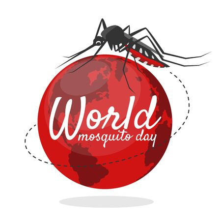 World mosquito day banner with mosquito flying around red earth world sign