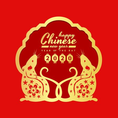 Chinese new year 2020 with gold twin rat chinese zodiac under banner frame on red