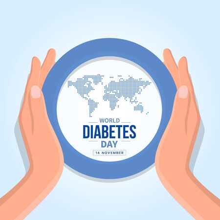 World diabetes day banner with hand hold care abstract dot map earth world and text in blue circle ring sign