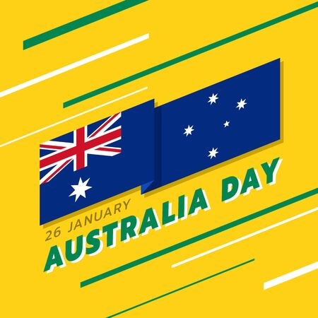 Australia day banner with Australia flag stripes Waving sharp corners and text on yellow and line green white