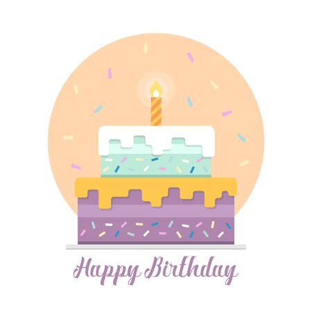 Happy birthday banner with light candle on cake and ribbon firework shape and pastel style