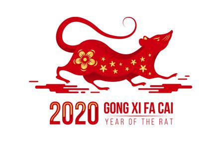Chinese new year - Gong xi fa cai 2020 year of the rat text and gold flower texture on red art chinese rat zodiac are run on cloud sign