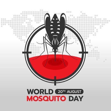 Bandiera della giornata mondiale delle zanzare con zanzara Bere sangue in cerchio concentrarsi sulla trama della mappa del punto astratto del mondo della terra