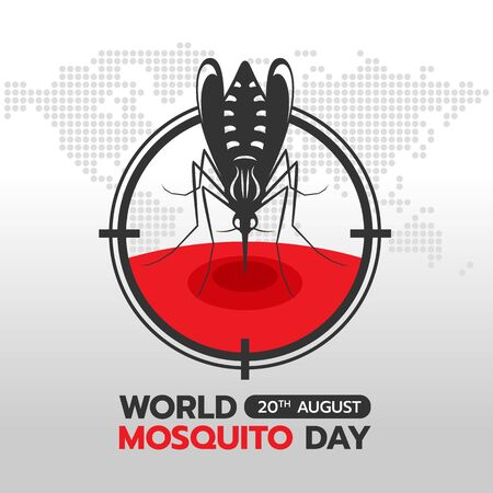 World mosquito day banner with mosquito Drinking blood in circle focus on earth world abstract dot map texture