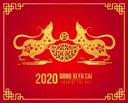 Chinese new year Gong xi fa cai 2020 with gold twin rat Chinese zodiac hold china money and coin on red Ilustrace