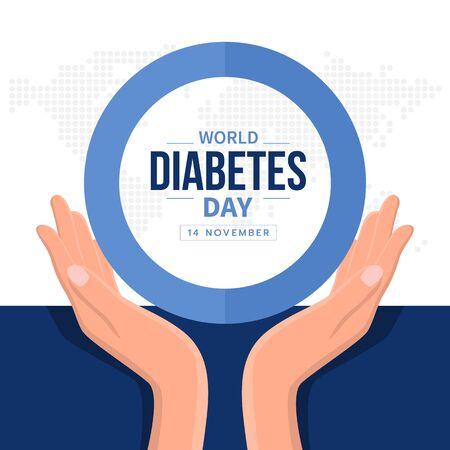 Weltdiabetes-Tagesbanner mit Hand halten Pflegetext im blauen Kreisringzeichen und abstrakter Punktkarte Erde-Weltbeschaffenheit