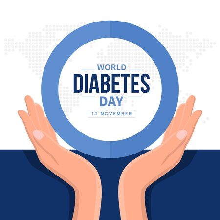 World diabetes day banner with hand hold care text in blue circle ring sign and abstract dot map earth world texture Иллюстрация