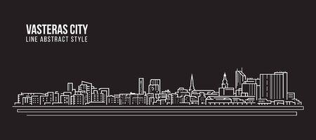 Cityscape Building Line-kunst Vector Illustratie