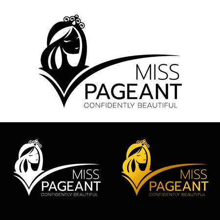 Miss pageant logo with head face woman smile and wear crown