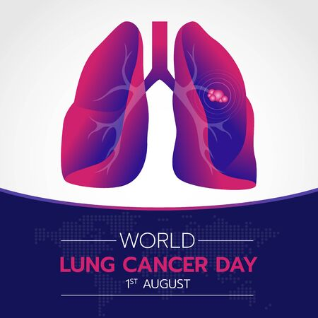 World lung cancer day banner with Purple and pink gradient lung cancer sign Ilustrace