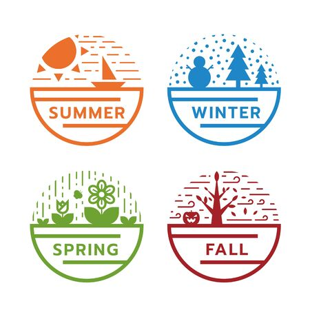 4 season circle sign with modern line nature in summer, winter, spring and fall Ilustrace