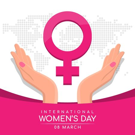 international women day with womans hand hold care pink female Symbol on abstract dot world map texture