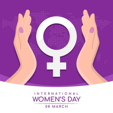 International women day with womans hand hold care white female Symbol on abstract purple dot world map texture Ilustrace