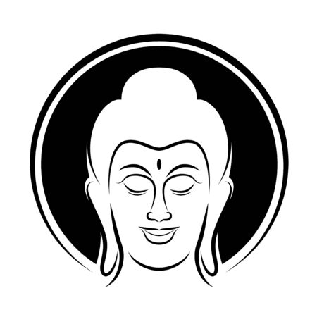 Head Buddha and circle head radius sign with line style