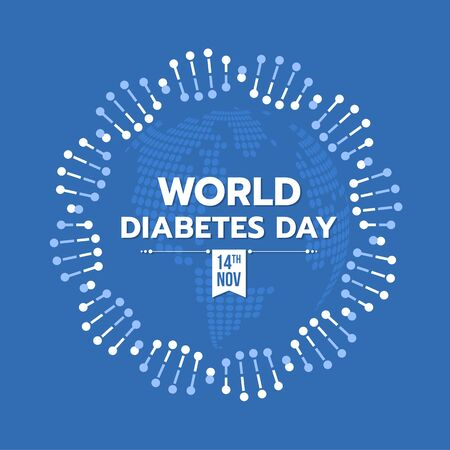World diabetes day banner with DNA circle ring sign around text and blue earth texture