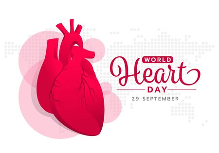 World heart day with red pink human heart sign on abstract dot world map texture Ilustrace