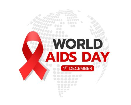 World aids day banner with red ribbon sign and text on circle abstract dot world texture