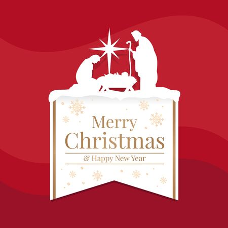Merry Christmas and happy new year banner with white mary and joseph in a manger with baby Jesus and star light top up white gold banner text  on red