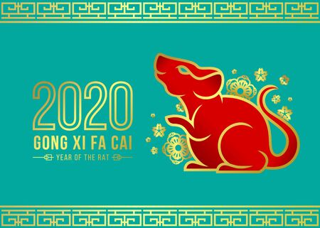 Happy chinese new year 2020 card with red and border gold rat zodiac and gold flora sign on blue green