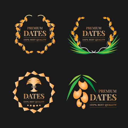 Gold Premium dates fruit  sign on black