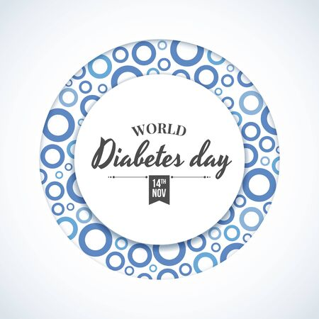 World diabetes day banner - circle ring frame with abstract blue circle rings texture