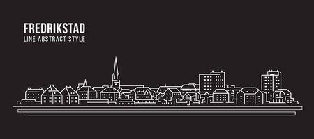 Stadsgezicht Building Line art Vector Illustratie ontwerp