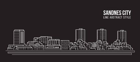 Cityscape building line art illustration design - Sandnes city Ilustrace
