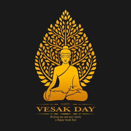Happy Vesak day - Gold Buddha Meditate under Bodhi Tree on dark background design