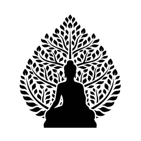 Buddha meditate and bodhi tree sign symbol isolated on white background design Illustration