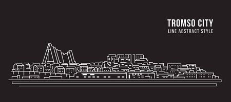Cityscape building line art illustration design - Tromso city Ilustrace