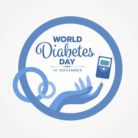 World Diabetes Day banner with blood sugar test and blood on the finger sign on blue circle rings are link design Ilustrace