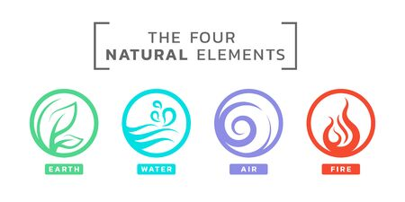 4 elements of natural circle line art icon sign with earth water air fire design Ilustrace