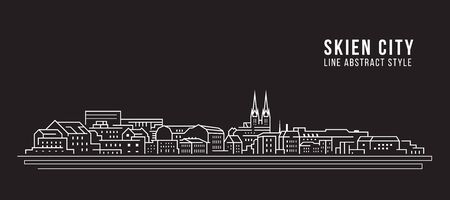Cityscape building line art illustration design - Skien city